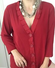 TS WOMENS DESIGNER BLOUSE TOP BUTTONS STRETCHY 3/4 SLEEVE RED SZ S