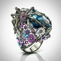 Turkish Punk Handmade 925 Silver Flower Spider Sapphire Biker Ring Jewelry Gift