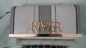 river island purse faux patent leather monogram grey gold bn