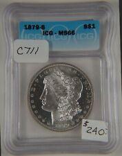 1879 S Morgan Silver Dollar, ICG Certified MS66, Graded in Holder, Gem