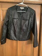 Ellen Tracy Black Faux Leather Short Jacket Size M