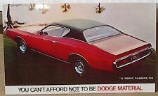 1971 71 DODGE CHARGER 500 RED SCAT PACK DEALER BOYS PROMO POSTCARD MOPAR