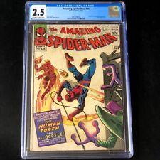 Amazing Spider-Man #21 💥 CGC 2.5 OW-W 💥 Human Torch & Beetle Marvel Comic 1965