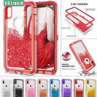 360° Heavy Duty Armor Case for iPhone 8 Plus 6S+ Liquid Glitter Quicksand Cover