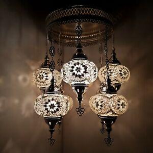 Turkish Moroccan Glass Mosaic Silver Chandelier Lamp Light 8 Bulb