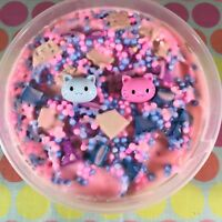 "Thicc SLIME ""KITTY KINGDOM"" Pink Foam Beads Chunks Cat Charm Scented 4 6 8 oz"