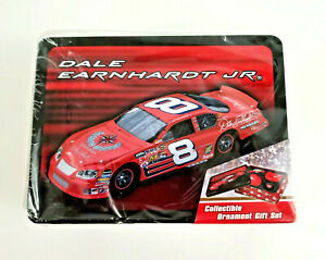 Dale Earnhardt Jr #8 NASCAR Collectible Ornament Gift Set In Tin Trevco NEW