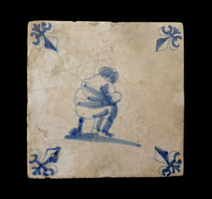 Amusing Remarkable DUTCH DELFT TILE, Man Taking a wayside POOP, 1650