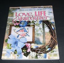 LEISURE ARTS COUNTED CROSS STITCH LEAFLET PATTERN BOOK LOVE LIFE LAUGHTER 3030