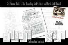 """Craftsman 6"""" Metal Lathe Operating Instructions and Parts List Manual 109.21270"""
