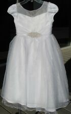 NWOT Bonnie Jean white Communion dress.tulle overlay, cap sleeves, full skirt 8