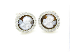 Cameo Earrings Angel 925 STERLING SILVER Shell 0.39inch Ангелс Цамео Минђуше