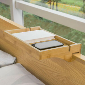 SoBuy Bettablage mit Kabelführung Nachttisch Fernbedienung Bambus NKD01-N