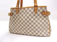 Auth LOUIS VUITTON Damier Azur Batignolles Horizontal Shoulder Tote Bag V-3580