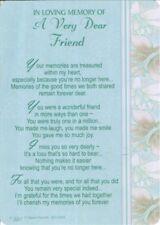 Grave Card IN LOVING MEMORY OF A VERY DEAR FRIEND Sentimental Memorial Funeral