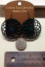 Dangle, Art Deco, Green Tree Jewelry - Wooden Earrings - Geometric Circles