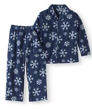 Girl's Holiday Family Pajamas Snowflake 2 Piece Fleece Sleepwear Set, Blue 6/6x