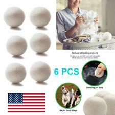 6cm 6Pcs Natural Reusable Laundry Clean Pactical Home Wool Tumble Dryer Balls US