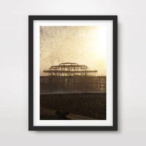 BRIGHTON WEST PIER SILHOUETTE ART PRINT Poster Photography Decor Artwork Sussex