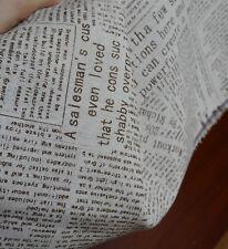 Brown Newspaper Cotton Linen Fabric tablecloth DIY Throw Pillow Cloth 50x145cm