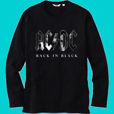 AC DC Back in Black Rock Band Legend Men's Black Long Sleeve T-Shirt Size S-3XL