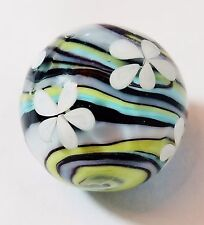 "HANDMADE GLASS MARBLE FLORALS ""EDELWEISS""  22mm SHOOTER"