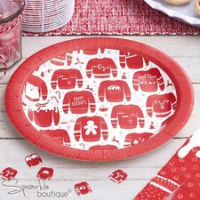 CHRISTMAS JUMPER PAPER PLATES - Red & White - Xmas Party - FULL RANGE IN SHOP!