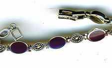 "925 Sterling Silver Purple Agate & Marcasite Hinged Bracelet Length 7"" 180mm"
