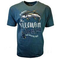 Yellowfin Bar & Grill Men's T-shirt Vacation Teal Fish Newport Blue Tee M XL XXL