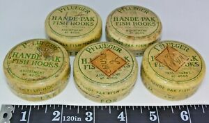 Five (5) Vintage Pflueger HAPPY-PAK 4005 Assorted Fish Hook Tins, Made in USA