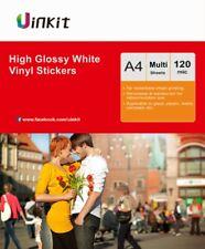 A4 High Gloss White Vinyl Waterproof Adhesive Sticker For Inkjet Print Uinkit