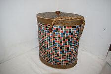Nähkorb Wollkorb tragbar Korb zur Aufbewahrung original 50s rare Mosaik v