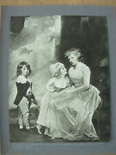 VINTAGE 1912 PRINT - HENRIETTA COUNTESS OF WARWICK & CHILDREN By GEORGE ROMNEY