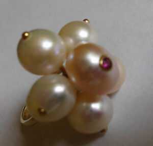 PINK PEARL & PINK SAPPHIRE FLOWER RING 14K Y/GOLD