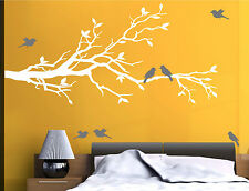"""78""""x37"""" Tree Branch in WHITE with 10 birds in GRAY Wall Decal Art Sticker Mural"""