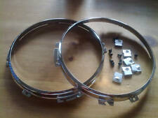 LAND ROVER SERIES 1,2,3,NEW CHROME HEADLAMP RETAINERS X 2 (FREE UK POST)