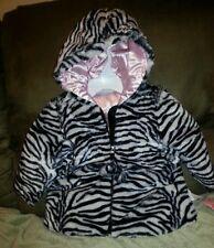 Adorable Bon BeBe Zebra Stripe & Metallic Pink Girls Faux Fur Hooded Coat 18 Mo