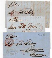1855/58 3 LETTERE PREFILATELICHE DA GENOVA LIVORNO VIA DI MARE ROSSO PREF/502