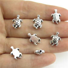 20977 50pcs Antique Silver Findings Alloy 12mm Sea Turtle Charms Spacer Beads