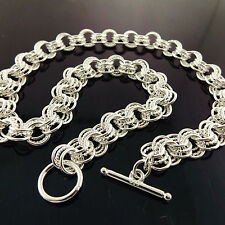 NECKLACE CHAIN REAL 925 STERLING SILVER S/F SOLID ANTIQUE LINK T'BAR DESIGN