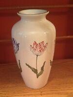 Beautiful Tiffany Tulip Urn Vase Multi Colored Tulips,White Pottery stamped base