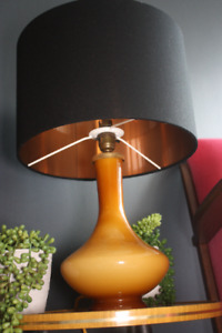 Lampshade, Black Cotton with Brushed Copper Lining