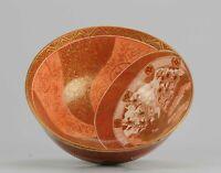 Antique 19C Japanese Kutani Bowl Marked on Base Figures Garden