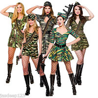 Army Military Womens Sexy Fancy Dress Costume Solider Camouflage Ladies Outfit