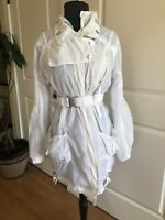 Mcplanet Jacket White Long Sleeve Belted Hooded Women's Zip Up Size 6