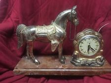 Vintage Americana Western Horse Self Starting Electric Mantel Gold Clock Set