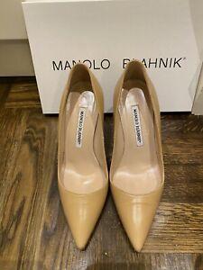 Manolo Blahnik BB Kid Beige 9cm Stiletto Size 36.5 Handmade In Italy
