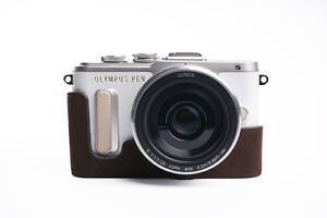 Genuine Real Leather Half Camera Case Bag Cover for Olympus E-PL8 EPL8 D Brown