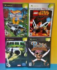4 Games Lot Microsoft Xbox OG Hot Wheels Stunt Track Hulk Pirates Lego Star Wars
