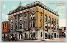 Freeport Illinois~Old Colony Life Building~Bicycles by Entrance~Vintage Car~1910